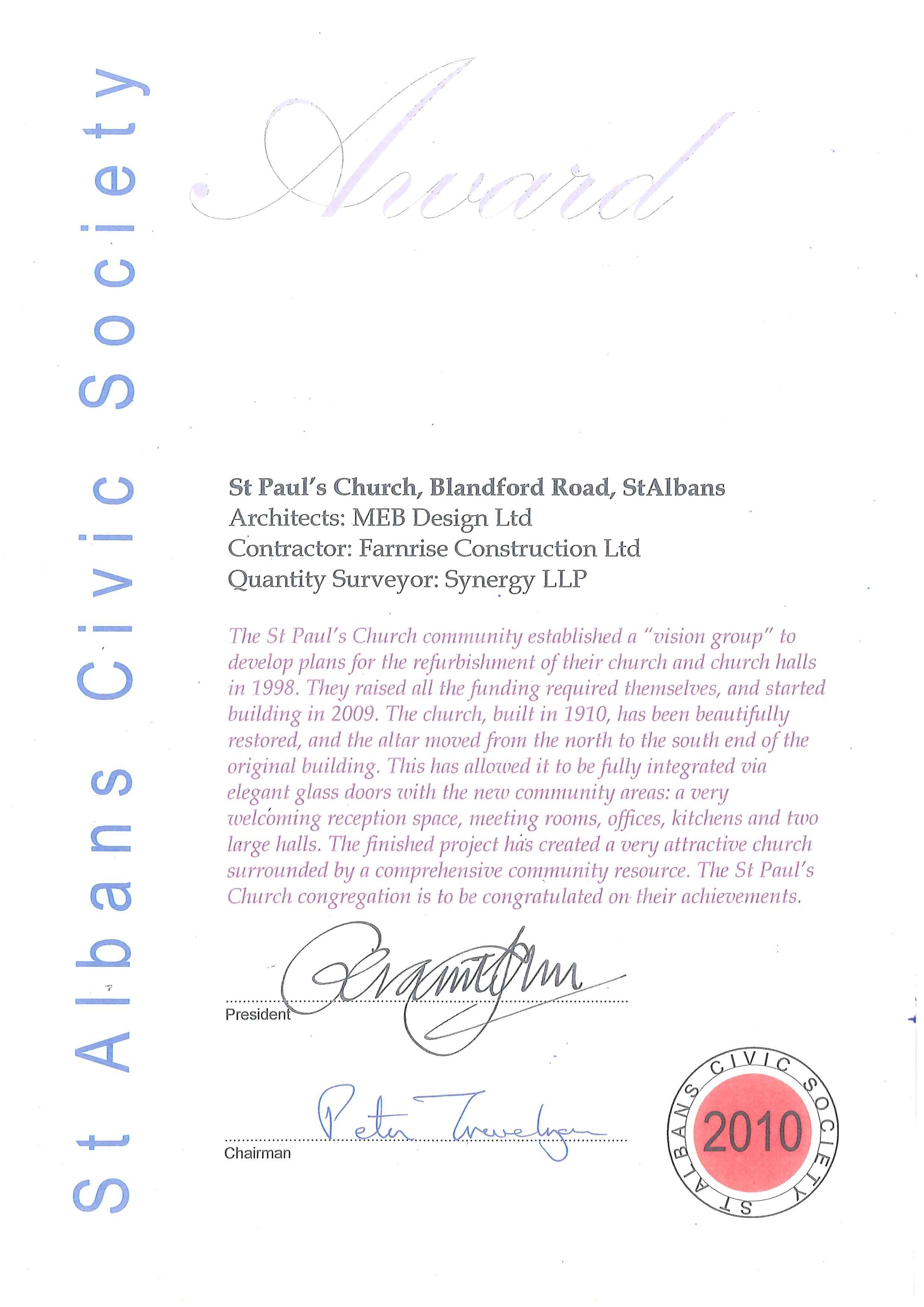 Award - St Albans 2010
