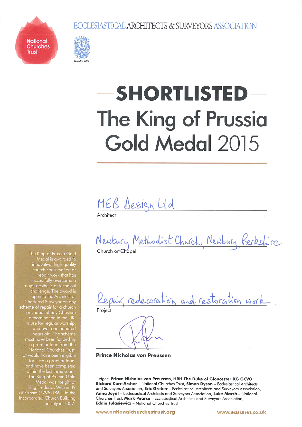 King of Prussia Gold Medal Certificate